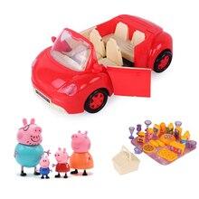 Peppa pig George juguetes Red Car Set figura de acción juguetes de Anime originales para niños juguetes de dibujos animados para niños regalo de cumpleaños