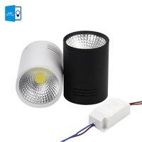 [DBF] 7 w 10 w COB Led downlight Możliwość Przyciemniania Natynkowa Sufit Spot light AC110V-220V lampa Sufitowa z czarny/biały Obudowa Colo