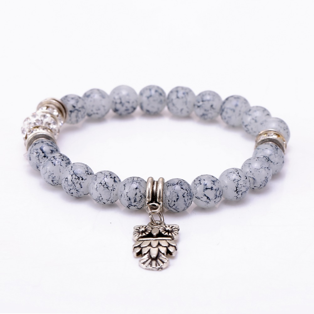 Antique Silver Owl Charm Bracelets 3 Colors Natural Stone 8mm Elastic  Adjusted For Lucky Men Women