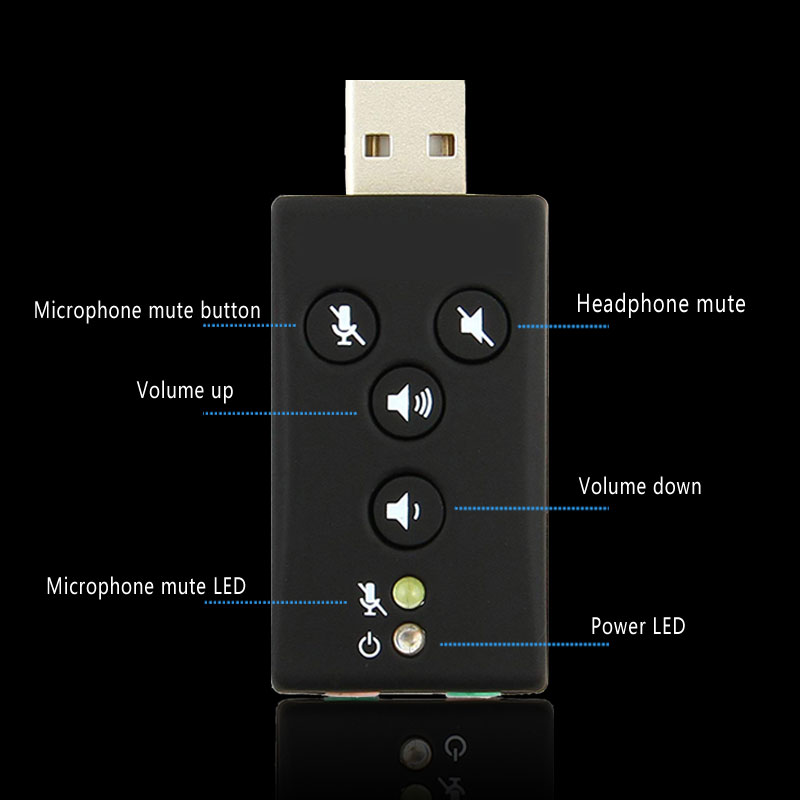7.1 External USB Sound Card USB to Jack 3.5mm Headphone Audio Adapter Earphone autio interface For Computer Mac Windows Linux 2