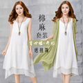 Maternity clothing summer  medium-long loose short-sleeve maternity dress full  2 piece set fashion