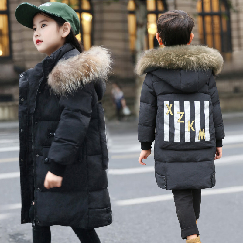 New Winter Girls/Boys Down Jackets Baby Kids Long Sections Down Coats Thick Duck Down Warm Jacket Children Outerwears -30degree new 2017 russia winter boys clothing warm jacket for kids thick coats high quality overalls for boy down
