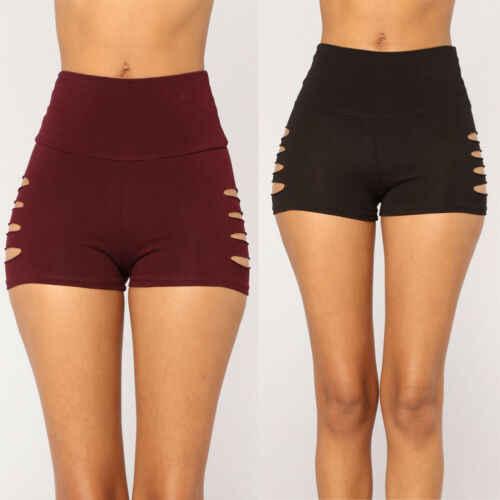 2019 nowych kobiet Hot spodnie siłownia stałe szorty taniec sportowy Bodycon rozciągliwy trening moda dziura spodnie i spódnice