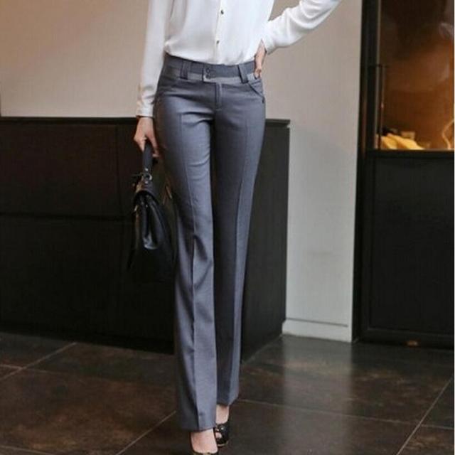 083f877d36912 US $24.89 |New 2018 Women Spring Summer Straight Pants Slim Ol Plus Size  Casual Pants Ladies Suit Trousers Office Formal Pants Women-in Pants &  Capris ...