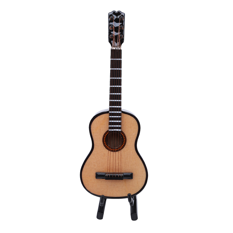 Ambitious Hot Toys Good Quality Dolls Accessories 6th Miniature Dollhouse Wooden Guitar Handmade Model With Pu Box For 1/6 Action Figures Quality And Quantity Assured Toys & Hobbies