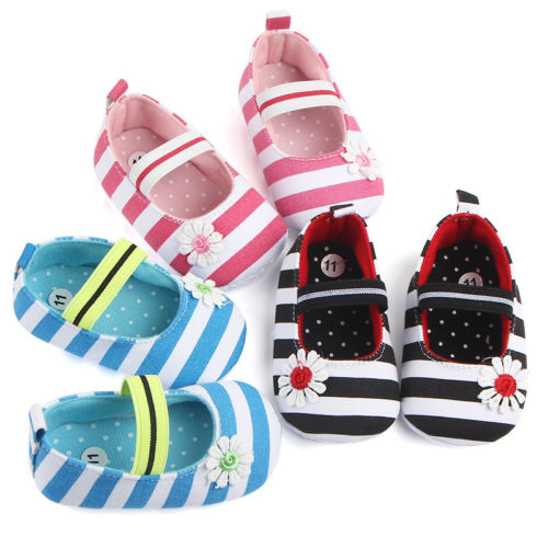 Newborn Infant Baby Girls Flower Striped Print Soft Sole Shoes Kids Infantil Anti-Slip Cotton Moccasin Prewalker First Walkers