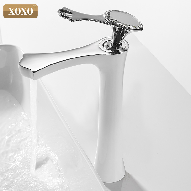 XOXO Basin Faucet Cold and Hot Chrome White Single Handle Single Hole Bathroom Sink Faucets Deck