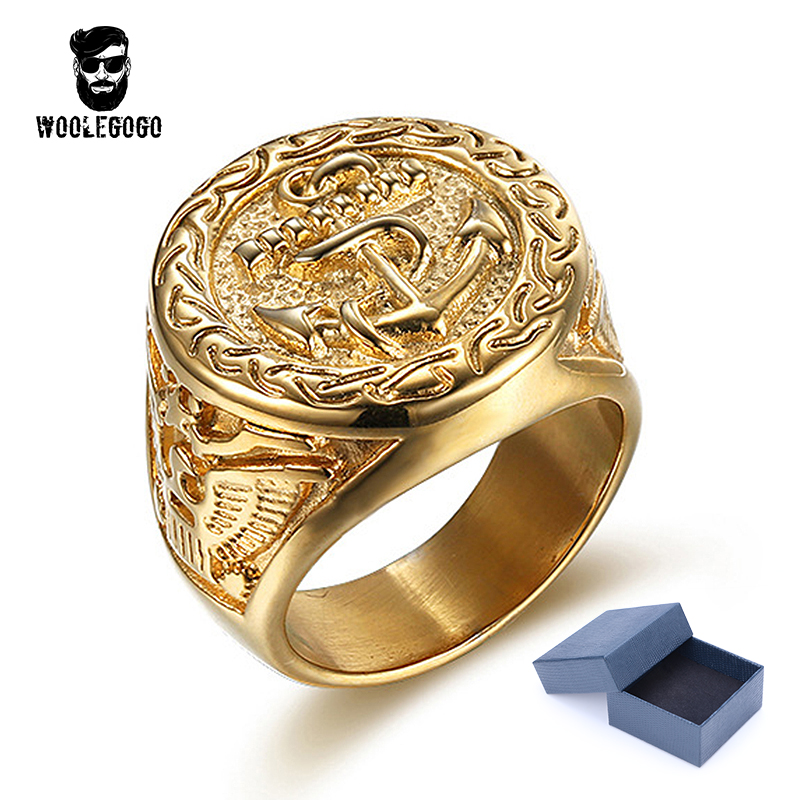 WooLeGoGo Punk Biker Anchor Signet Rings for Men 316L Stainless Steel Luxury Gold Rings Vintage Mens Jewelry Ring Bagues Homme цена