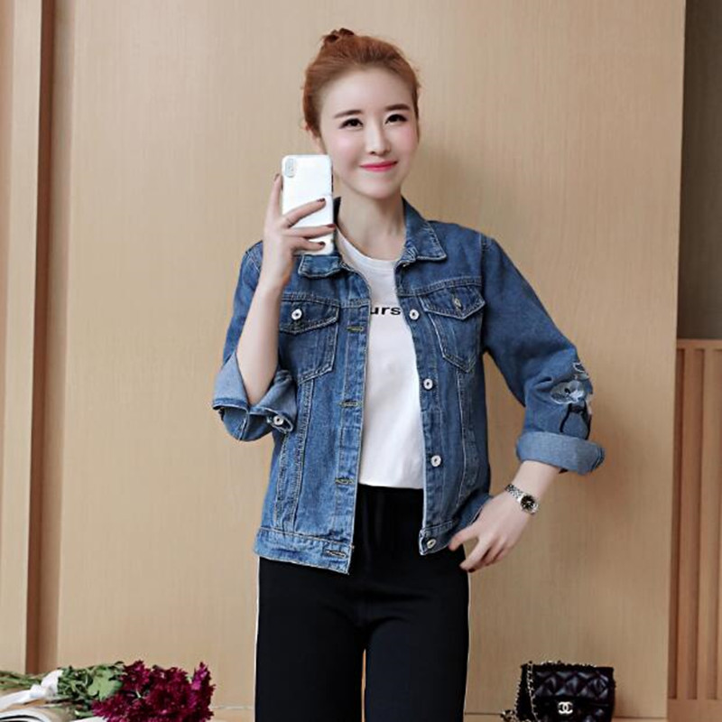 Spring Autumn National Wind Women Long sleeve Denim Coat Large Size Casual Slim Loose Wild Embroidery Tops Denim Jacket AS638 1