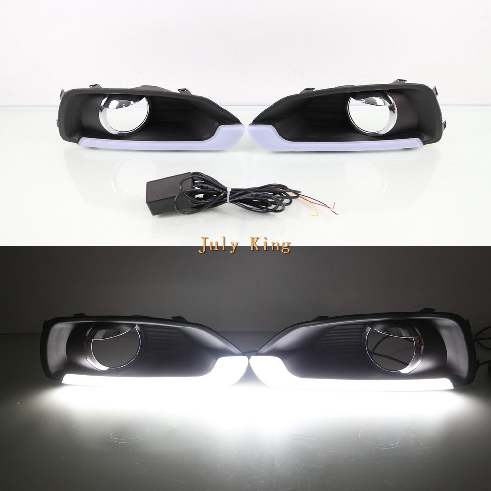 July King LED Light Guide Daytime Running Lights Case for Suzuki SX4 2014 2016, LED DRL With Fog Lamp Cover, 1:1 Replacement