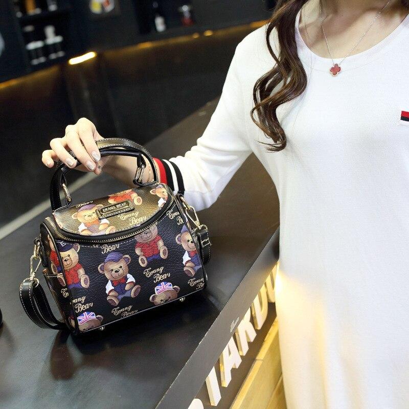 Free shipping Summer Women Messenger Bags Flap Bag Lady Canvas Cartoon bear Printed Crossbody Shoulder Bags Small Female Handbag