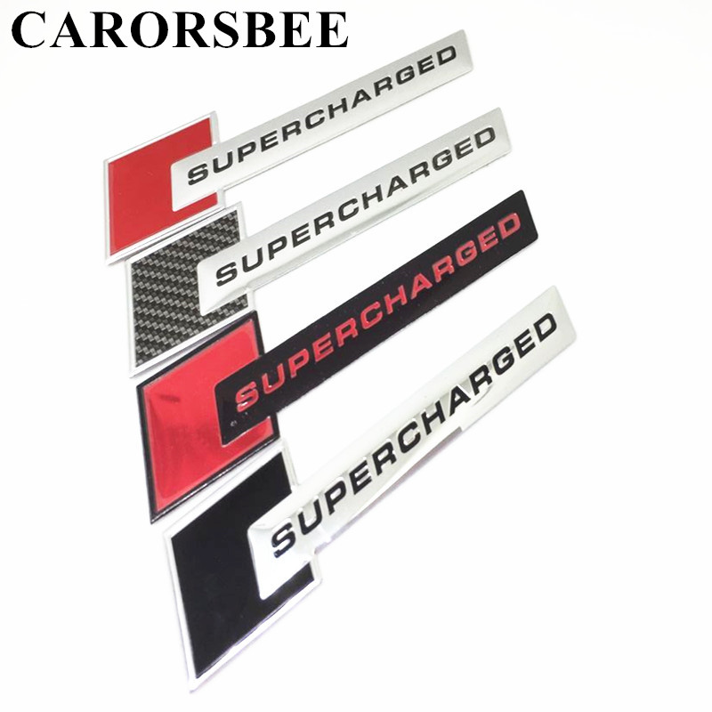 CARORSBEE 3D Aluminum Motorsport SUPERCHARGED Emblem Badge Car Sticker TURBO Displacement Auto Body Rear Trunk Decal Car-styling mayitr metal 3d black limited edition sticker universal car auto body emblem badge sticker decal chrome emblem car styling
