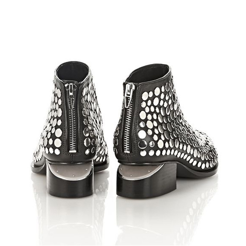 Fashion Rivets Black Real leather Ankle boots Woman Pointed Toe Silver Metal Strange Heel Botas Mujer Women Martin Boots