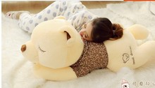 big lovely lying bear dolls huge squinting bear with brown cloth plush toy doll birthday gift about 130cm