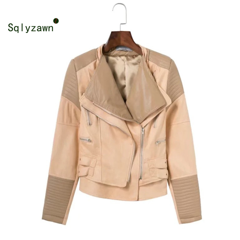 Cool Women's Faux PU   Leather     Suede   Short Punk Jacket Multy Zipper Motorcycle Coat Womens 2019 Spring Fashion Biker Lapel Jackets