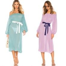 Women Chiffon Summer Beach Dress, Off Shoulder Maxi Dress Holiday Swimwear Cover Up