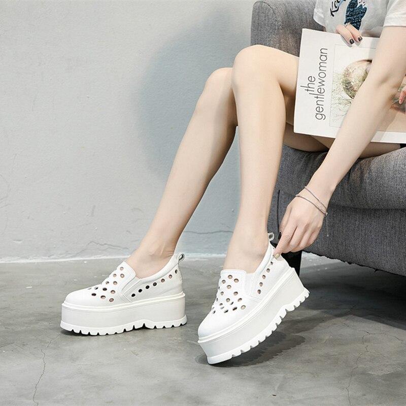 Frauen Flache Dicken 2018 Neue Einfache Leder Casual Schuhe Erhöhen Atmungsaktivem Hohl Schuhe Mode Herbst Sohlen pZpW5Onzx