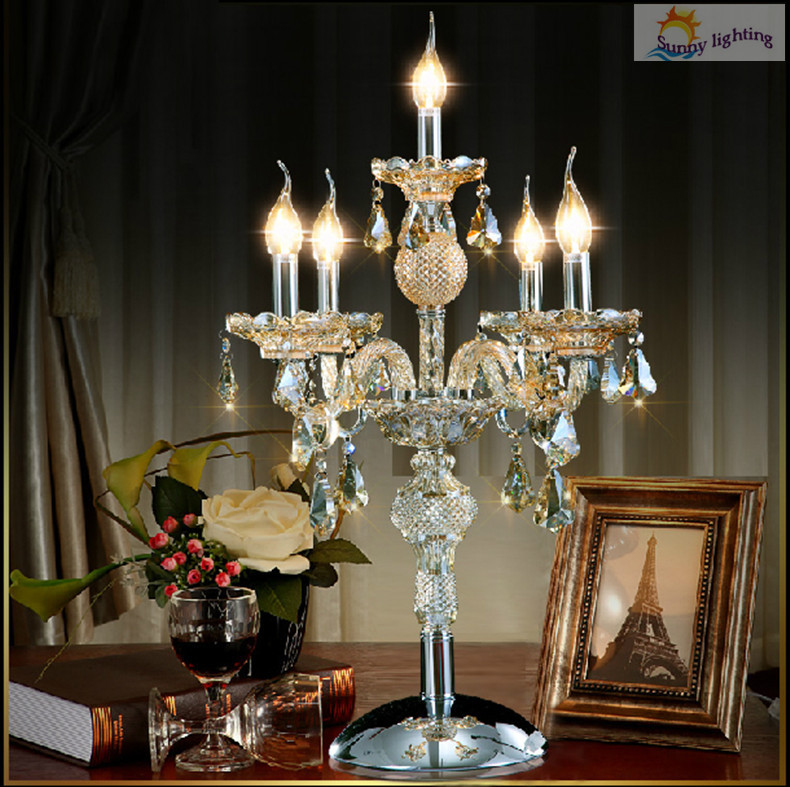 5 Arms Led Candelabra Crystal Desk Lamp For Bar Kitchen Antique Glass Table  Lamp With Lampshade Large Bedroom Hall Table Light In Desk Lamps From  Lights ...