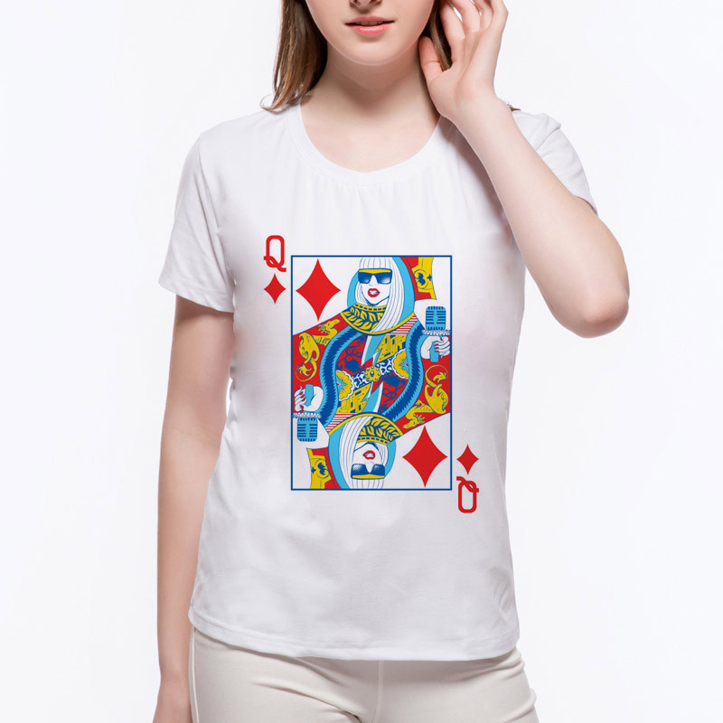 30b8e27b US $7.51 31% OFF|New King Q Poker design Women t shirt Lady Gaga printed  Girl cool tops vintage style short sleeve casual tee shirts N12 26#-in ...