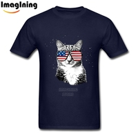 USA Flag Glasses Shirt 3XL Boyfriend S Tops American Flag Cat Tees