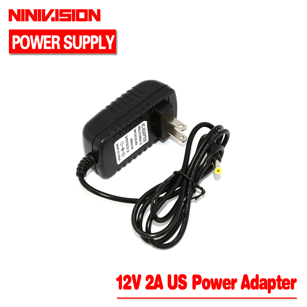 Universal AC 100-240V US Plug For DC 12V 2A 24W Power Supply Adapter Charger For LED Strips CCTV Security Camera Top Sale eu 12v 2a power supply ac 100 240v to dc adapter plug for cctv camera ip camera surveillance accessories