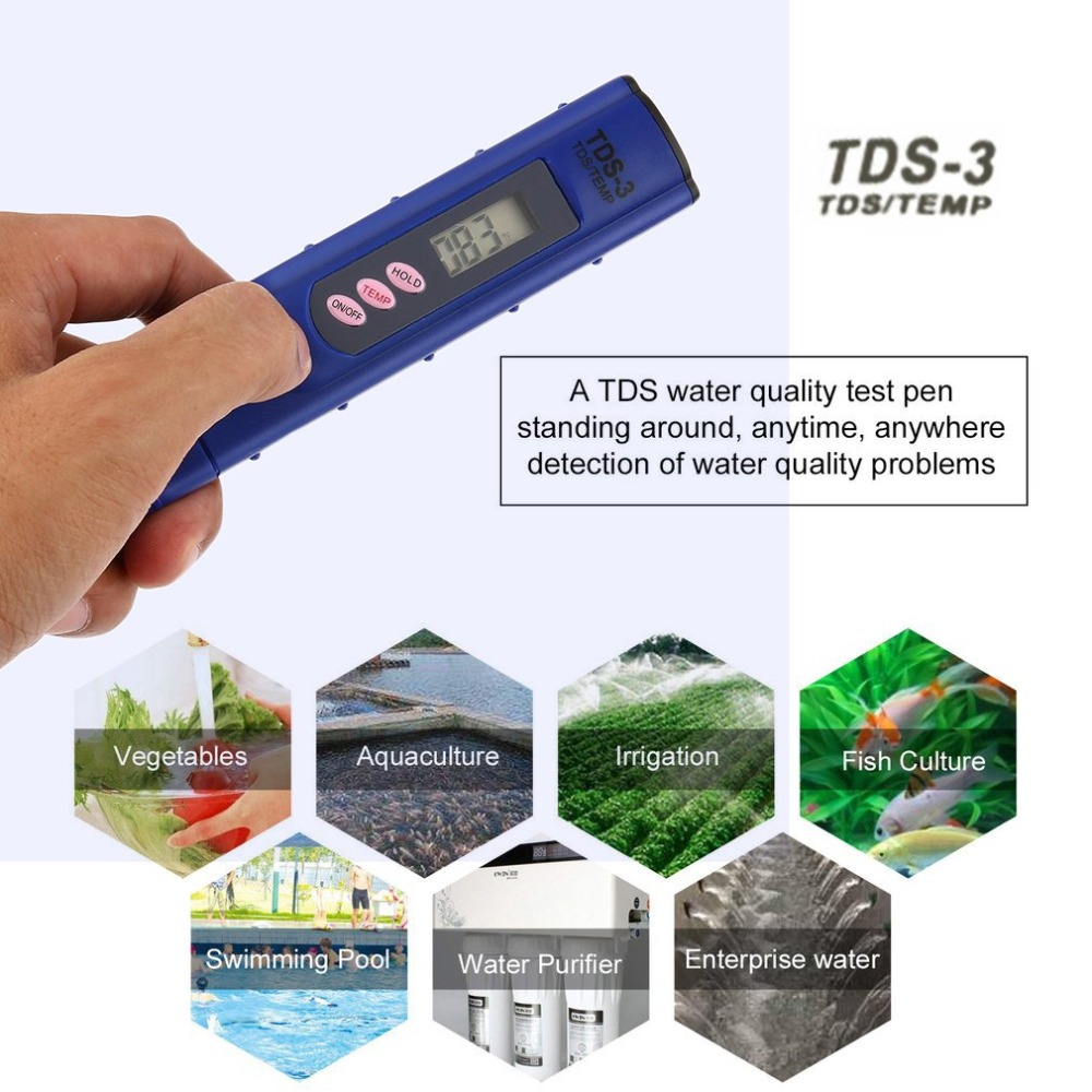 1Pc PH Meter Portable TDS Meter LCD PH Meter Digital  0-9990ppm Water Quality Test Pen Hardness Analyzer Medidor Ph Aquario