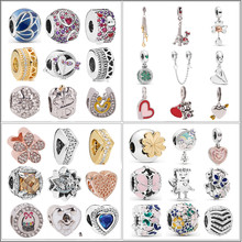 AIFEILI Fit Pandora Beads Bracelets 2019 New Spring Silver Jewelry Heart Paper Plane Charms Pendants Silver Butterfly Bead(China)