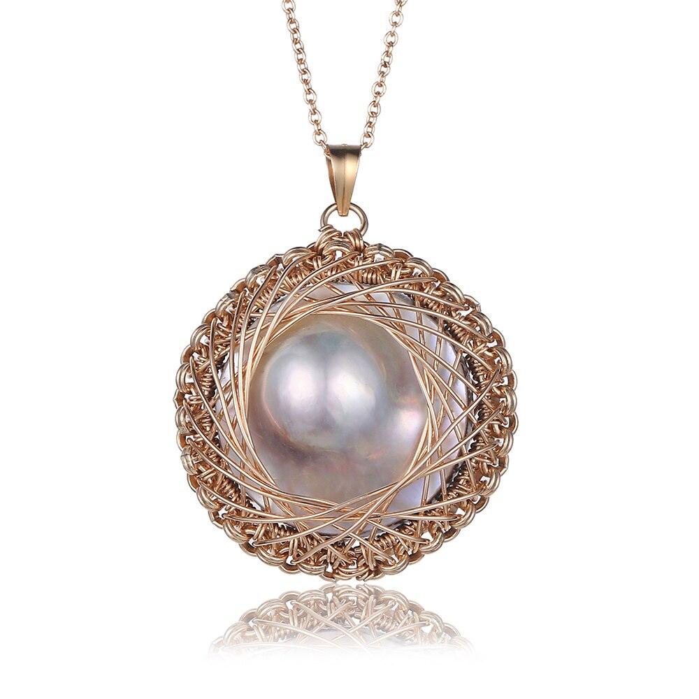 Vintage grand plat rond colliers de perles Baroque Antique or fil pendentif colliers de luxe perles d'eau douce colliers pour les femmes