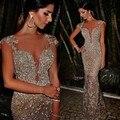 Abendkleider 2015 de lujo magnífico Champagne tul bordado de plata perlas de lentejuelas piedras sirena vestido de noche largo