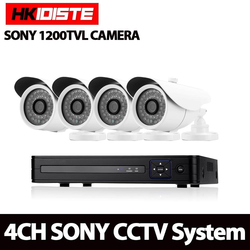 4CH 1080N HDMI DVR Camera Kit White Sony 1200TVL HD Security Camera System 4 Channel CCTV Surveillance DVR Camera Set
