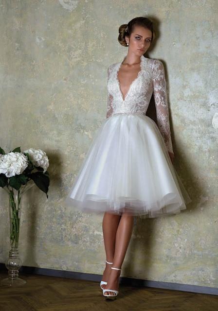 Long Sleeve Knee Length Wedding Dress