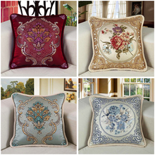 European style Pillow Cover sofa Square cushion cover Hold pillow case Embroidered floral waist backrest Car pillowcase