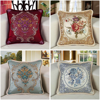 European style Pillow Cover sofa Square cushion cover Hold pillow case Embroidered floral waist backrest pillow Car pillowcase creative simulation diamond shaped lumbar pillow european style embroidered nap sofa cushion plush cushion pillow