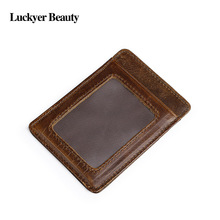 цена на LUCKYER BEAUTY Genuine Leather Business Credit Card Case For Men Slim Small Wallet Original Cowhide Leather ID Card Purse