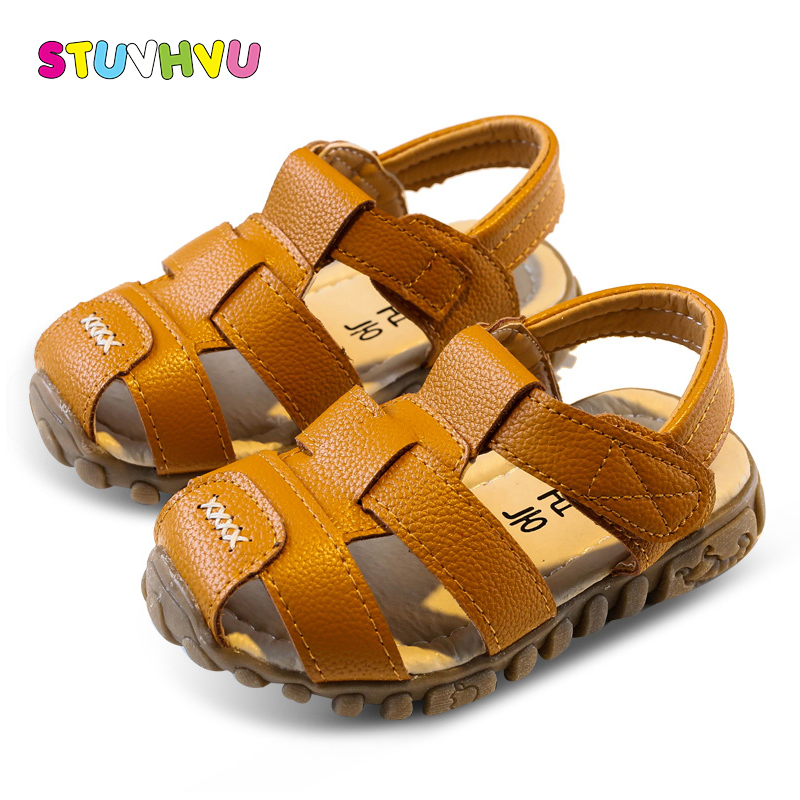 Boys leather sandals 2018 summer soft leather sandals kids fashion high quality girls children beach shoes sport sandal hot sale