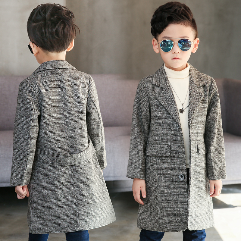 Plus Size Children's Long Suit Plaid Coat 2018 Spring Fall Boys British Lattice Overcoat Teenage Kids Handsome Windbreaker A973 цена 2017