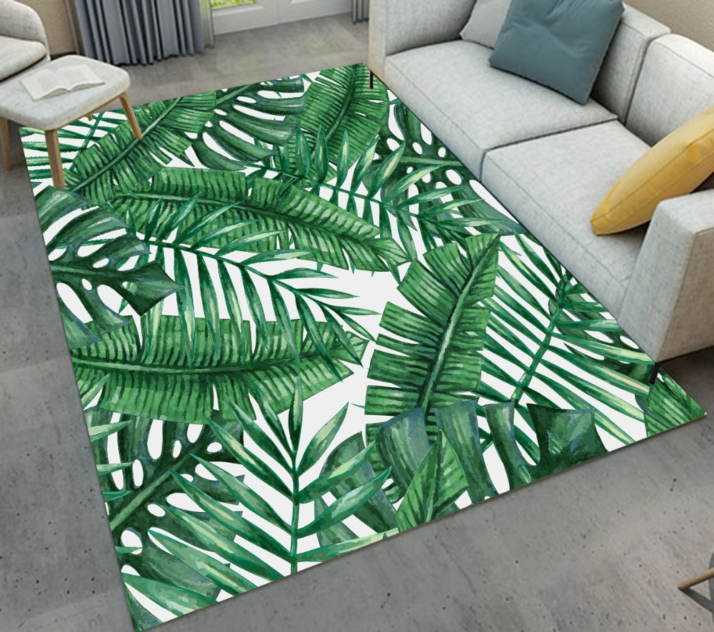 Banana Leaves White Area Rugs