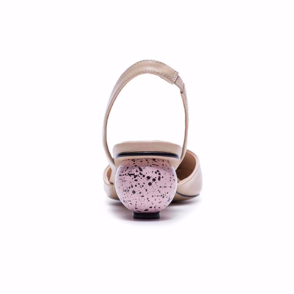Krazing pot genuine leather sandals women strange circular heels pointed toe summer elastic band European creativity shoes  L10