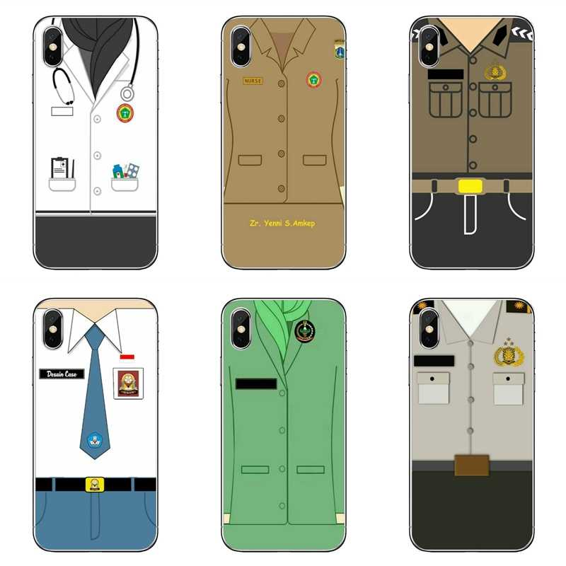 Awak Kabin Seragam Polisi untuk Apple Iphone 7 7 Plus 6 S 6 Plus X XR X Max SE 5 S 5c 5 4s 4 TPU Soft Phone Cover Case