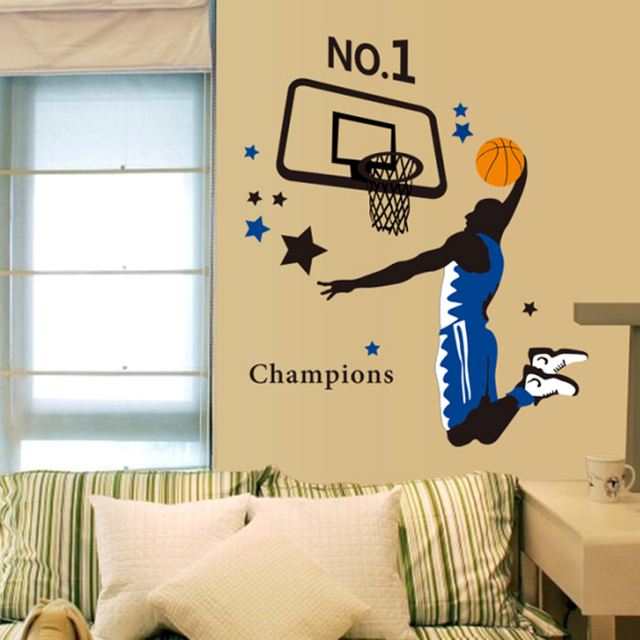 Free shipping DIY Basketball wall stickers TV wall painting Football ...
