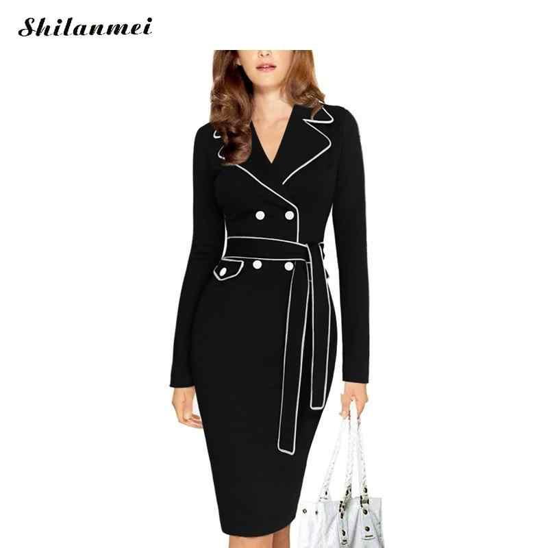 6b65ea9c1 XXXL Plus Size Women Autumn Winter Office Business Sexy Package Hip Dress  split with belt Pencil