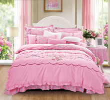 10 Designs-Cotton Korean Printing Embroidery Bedding Set Duvet Cover Bed Linen Bed sheet Pillowcases Bedclothes King Queen 4pcs