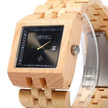 2017 Hot New Fashion Male Wooden Watch Men Top Brand Bewell Dress Wristwatch Analog Quartz Rectangle Dial Watches Date Display