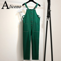 ALICENO 2XL 6XL Big Size Fitness Body Wear Ankle Length Solid Black Green Color Women Jumpsuits Overalls Bodysuit H19042902 W