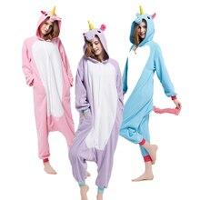 Cheap Kigurumi Adult Animal Unicorn Onesies Pajamas Teenagers For Halloween One-piece Jumpsuit Pijama Cosplay At Home Parties