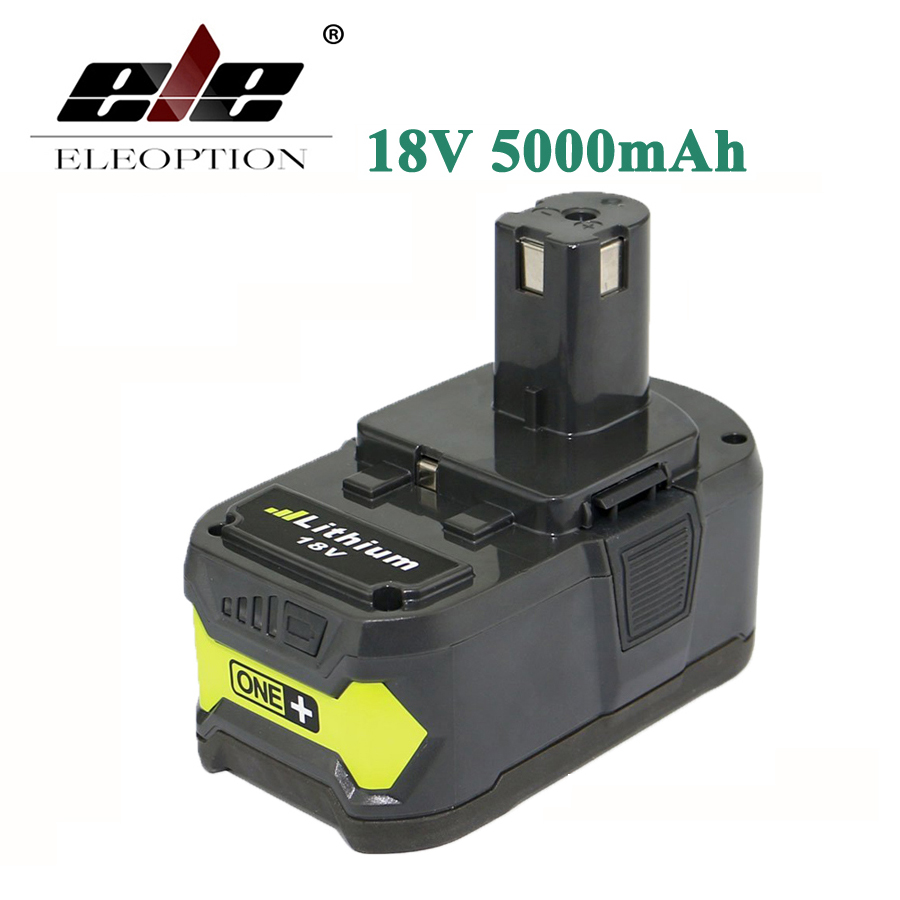 ELEOPTION 18V 5000mAh 5 0mAh Li Ion Rechargeable Battery For Ryobi P108 RB18L40 P2000 P310 For