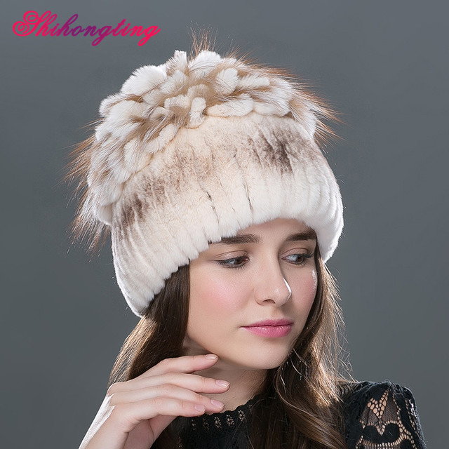 4ac36662aec70 Fashion Knitted Rabbit Fur Hat Big Fur Flower Hats Cold Season Brown Thick  Skullies Beanies Streak