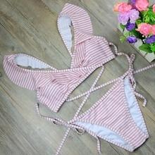 TOKITIND New Striped print Bathing Suit Brazilian Biquini Sexy Swimwear Bikinis Set 2017 Vintage Retro Swimsuit Bandage Swimwear
