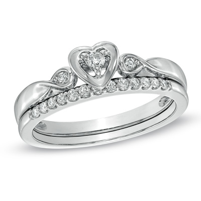 0 5ct Simulated Diamond Heart Cut Wedding Set White Gold Plated Engagement Ring 925 Sterling Silver