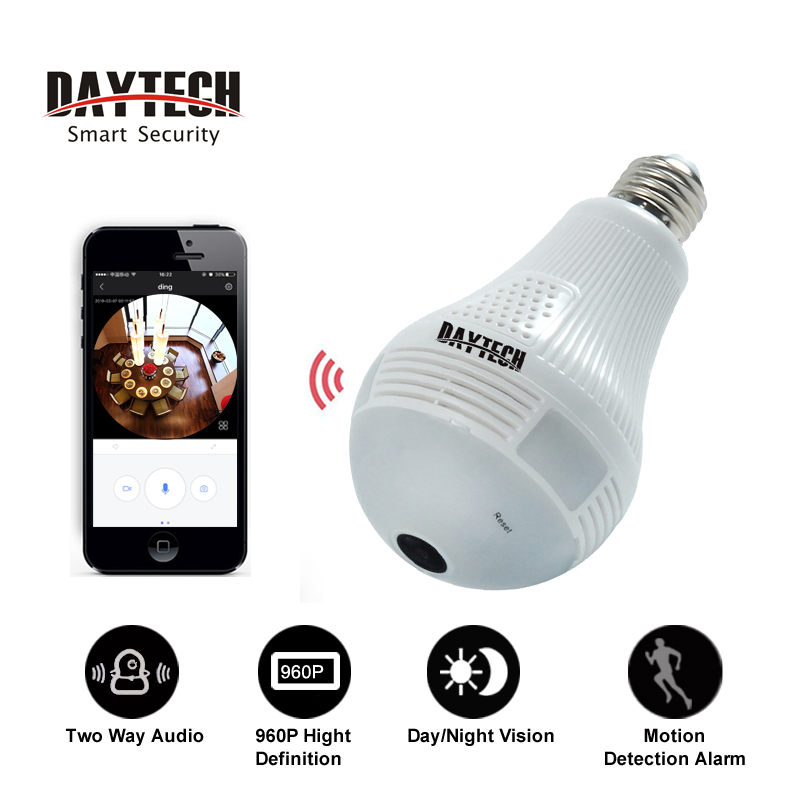 Daytech HD 960P CCTV Wifi Camera Video Two-way Audio Indoor Night Vision Panoramic Wide View Fisheye IP Camera Network Monitor